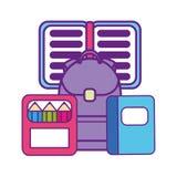 Bag school with set icons. Vector illustration design royalty free illustration