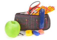 Bag with school tools on a white background. Stock Photo