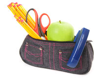 Bag with school tools on a white background. Bag with school tools on white background Stock Image