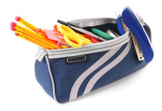 Bag with school tools on a white background. Stock Photos