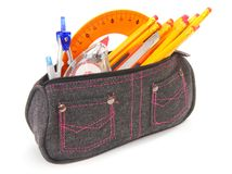 Bag with school tools on a white background. Royalty Free Stock Image