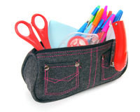 Bag with school tools on a white background. Royalty Free Stock Photo
