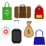 Bag. Set of Bags. Flat design, illustration royalty free illustration