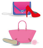 Bag and shoes. Different style bag and shoes Stock Photos