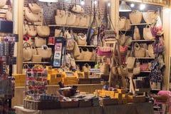 Bag shop in night market. Bag shop  with weaving bag for women in night market at Asiatique Bangkok Thailand Royalty Free Stock Photo
