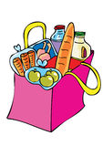 A bag of shopping. A cartoon bag of shopping groceries Stock Image