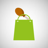 Bag shopping chicken thigh icon. Vector illustration eps 10 Royalty Free Stock Photography