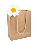Bag for shopping with daisy flower Royalty Free Stock Photography