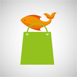 Bag shopping food icon fresh fish. Vector illustration eps 10 Stock Photography