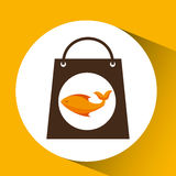 Bag shopping food icon fresh fish. Vector illustration eps 10 Stock Photos