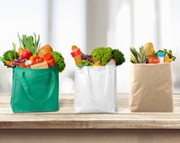 Bag. Shopping  Groceries Environment reusable Textile Fruit Royalty Free Stock Photos