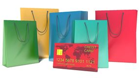 Bag for shopping, plastic card Royalty Free Stock Images