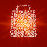 Bag For Shopping With snowflakes. EPS 8 Stock Image