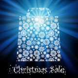 Bag For Shopping With snowflakes. EPS 8 Royalty Free Stock Images