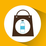 Bag shopping water bottle icon Stock Photo