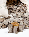 Bag of silver and gold coins Stock Image