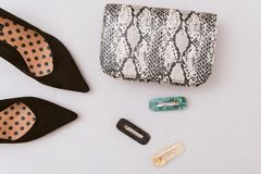 bag of snakeskin, hairpins and black shoes on a pastel beige background stock photography