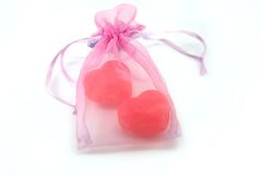 Bag with soap as heart Stock Photo