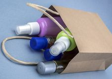 Bag with some medicines and beauty cosmetics. Consumer concept royalty free stock images