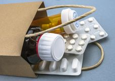 Bag with some medicines. Consumer concept royalty free stock image