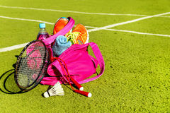Bag with sports equipment on the sports courts. Stock Image