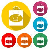 Bag store. Shop icon, color icon with long shadow. Simple vector icons set Royalty Free Stock Image