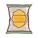 Bag of sugar. With yellow laber over white background. vector illustration Stock Photography