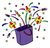 Bag of surprises. A cartoon illustration of a bag with firecrackers popping out Royalty Free Stock Images