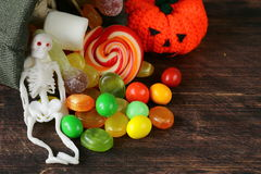 Bag with sweets and candy Stock Images