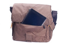 Bag and the tablet computer Stock Photo