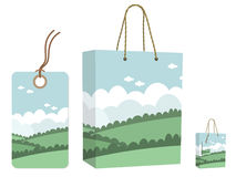 Bag and tag set Royalty Free Stock Photos