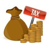 Bag with taxes signs Stock Photos