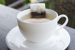 Bag tea in hot water with white cup Stock Photos
