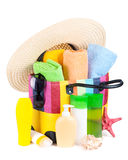 Bag with towels, sunglasses, hat and beach items Royalty Free Stock Photography