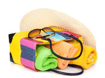 Bag with towels, sunglasses and hat Royalty Free Stock Photo