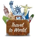 Bag with travel destinations-famous places NYC, London Big Ben, Rome, Paris-Eiffel Tower, Rio de Janeiro-Jesus Statue, NYC-Statue. Bag with travel destinations royalty free illustration