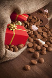 Bag with treats, for traditional Dutch holiday 'Sinterklaas' Stock Photos
