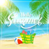 Bag on tropical beach and lettering Hello Summer royalty free illustration