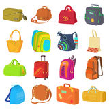 Bag Types Icons Set, Flat Style Stock Photos