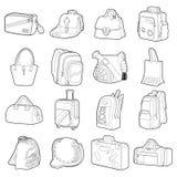 Bag types icons set, flat style Royalty Free Stock Images