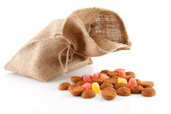 Bag with typical dutch sweets: pepernoten Stock Photo