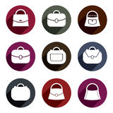 Bag vector icons set of 9 examples, fashion theme symbols collec Stock Images