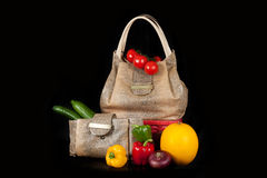 Bag with vegetables Royalty Free Stock Images