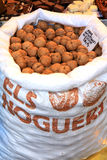 Bag of walnuts in a market. Picture of a bag of walnuts, taken in a spanish market Stock Image