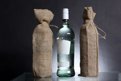 Bag for water or alcohol made out of recycled Hessian sack with Royalty Free Stock Photo