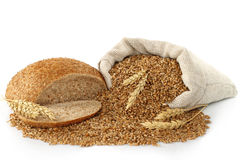 Bag with wheat, bread and ears Stock Image