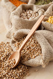 Bag with wheat closeup; bags with grains Royalty Free Stock Photos