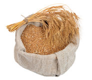 Bag with wheat grain Stock Images