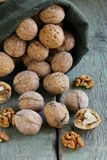 Bag with whole ripe walnuts Royalty Free Stock Image