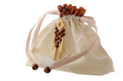 Bag with wooden beads Royalty Free Stock Photography